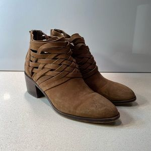 1. State Camel Suede woven zip-up booties size 7